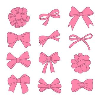 Conjunto de cintas rosa dibujadas a mano