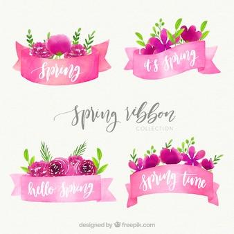 Conjunto de cintas rosas de acuarela de primavera