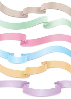 Conjunto de cintas de satén o seda que fluyen en tonos pastel. elementos de diseño horizontal en venta