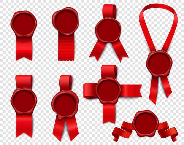 Conjunto de cintas de sello de cera de imágenes aisladas en 3d realistas con sellos vacíos y cinta roja festiva