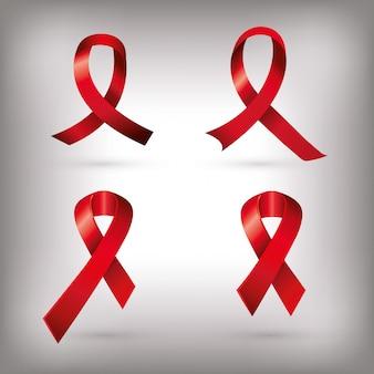 Conjunto de cintas de sensibilización del día del sida aislado
