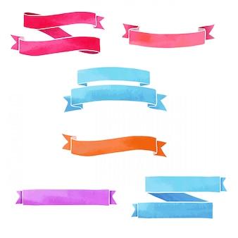 Un conjunto de cintas. textura acuarela coloridos colores pastel. aislado. .