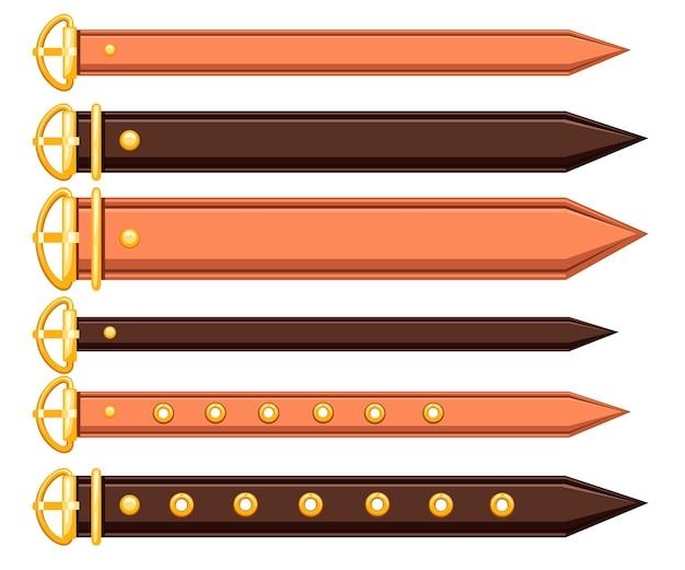 Conjunto de cinturón de cuero y elementos metálicos diseño de cadena y trenzado