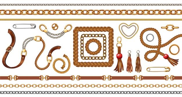 Conjunto con cinturones y cadenas de oro y plata, flecos