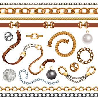 Conjunto con cinturones y cadenas.