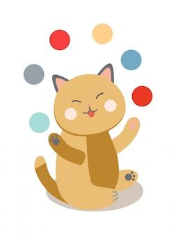 Conjunto del circo alegre que juega la ilustración de los gatos.