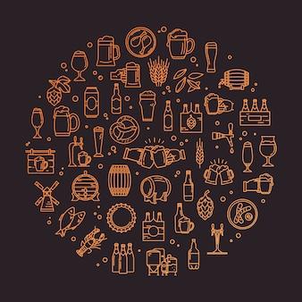 Un conjunto circular de iconos de cerveza artesanal con píxeles perfectos