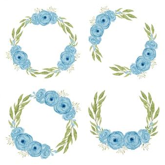 Conjunto de círculo de flor rosa azul en acuarela estilo pintado a mano