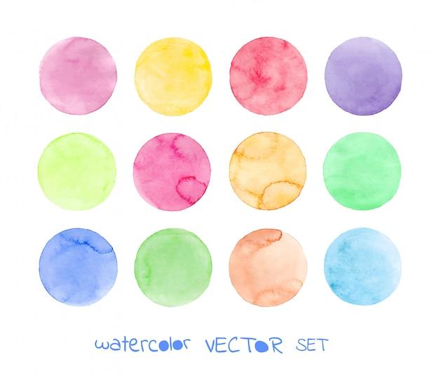 Conjunto de círculos de acuarela pastel.