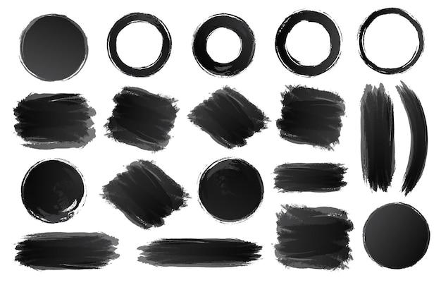 Conjunto de círculos y formas negras