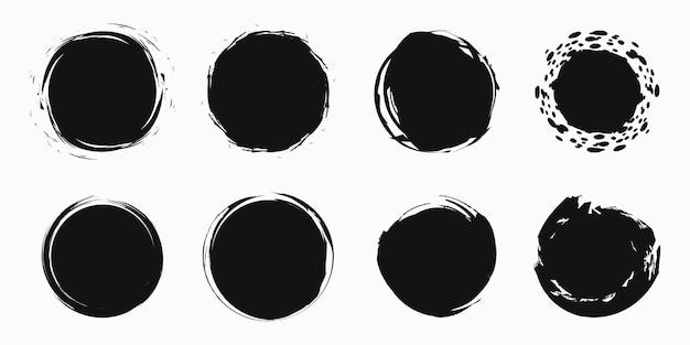 Conjunto de círculos de garabatos vacíos, elementos de diseño vectorial