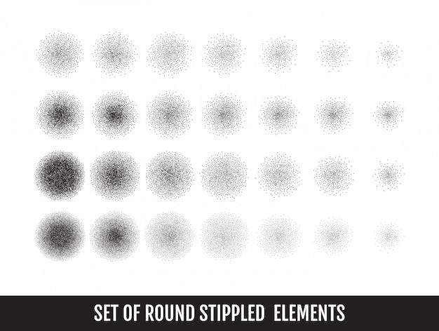 Conjunto de círculos granulados en blanco y negro