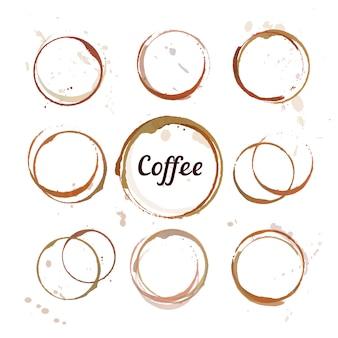 Conjunto de círculos de manchas de café, salpicaduras y manchas aisladas.