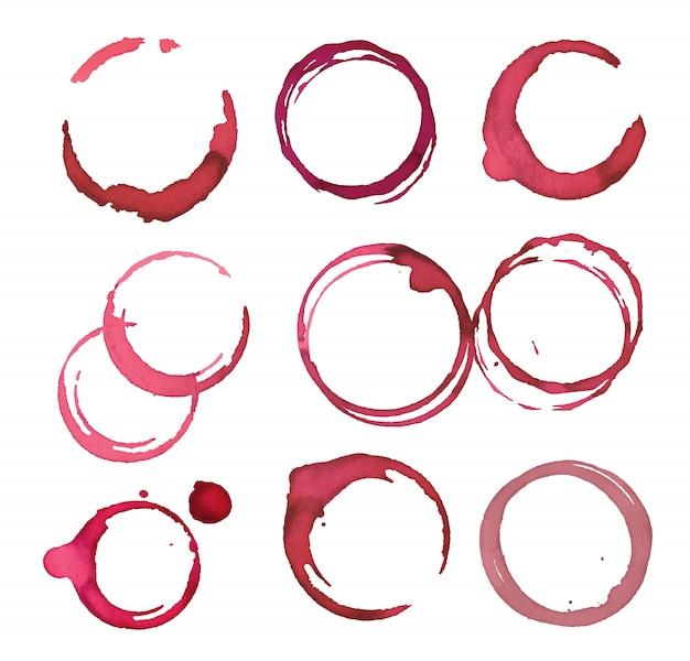Conjunto de círculos de manchas de vino tinto.