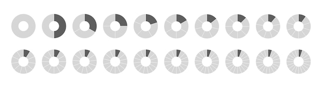 Conjunto de círculos segmentados aislado en un fondo blanco. conjunto grande de fracciones, de diagramas de rueda. varios números de sectores dividen el círculo en partes iguales.