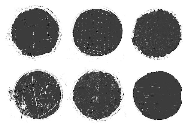 Conjunto de círculos con textura grunge