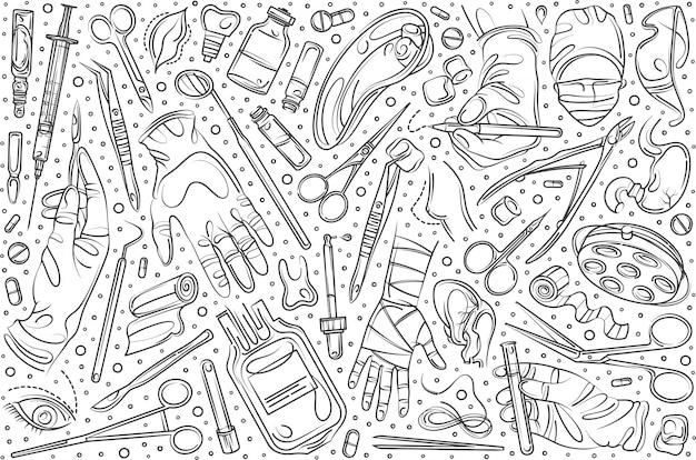 Conjunto de cirugía dibujada a mano doodle fondo
