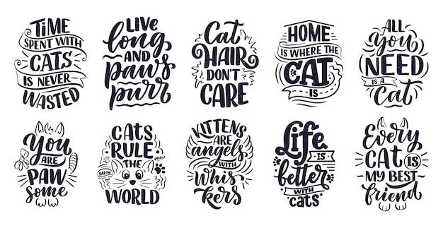 Conjunto con citas divertidas letras sobre gatos para imprimir en estilo dibujado a mano.