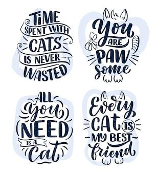 Conjunto con citas divertidas de letras sobre gatos para imprimir en estilo dibujado a mano.