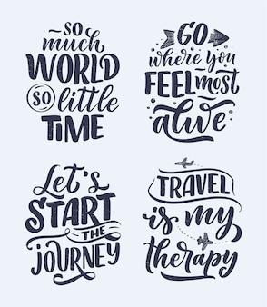 Conjunto con citas de inspiración de estilo de vida de viaje, carteles de letras dibujadas a mano.