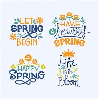 Conjunto de citas inspiradoras de escritura a mano sobre la temporada de primavera