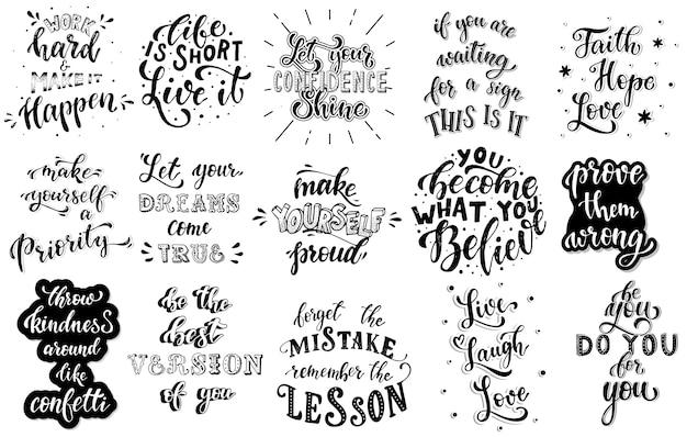 Conjunto de citas inspiradoras de letras a mano