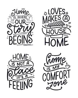 Conjunto con citas de letras dibujadas a mano en estilo de caligrafía moderna sobre el hogar. lemas para el diseño de carteles e impresos. ilustración vectorial