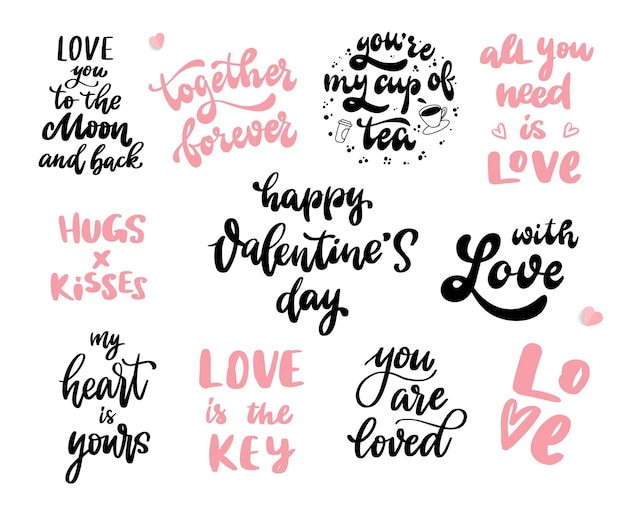 Conjunto de citas de letras de mano de san valentín