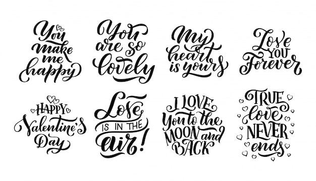 Conjunto de citas de letras sobre el amor.