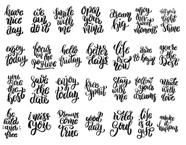 Conjunto de citas motivacionales de letras escritas a mano, lemas de tipografía inspiradora. elementos para carteles, tarjetas, pancartas. elementos
