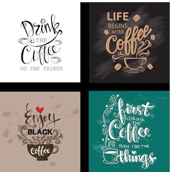 Conjunto de citas motivacionales sobre el café.