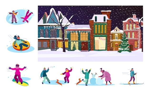 Conjunto de ciudadanos jugando en invierno