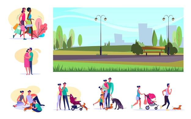 Conjunto de ciudadanos que realizan diversas actividades.