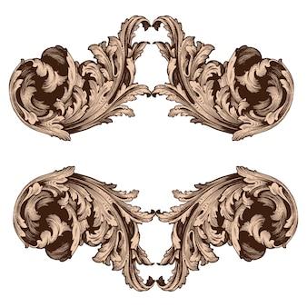 Conjunto clásico barroco de elementos vintage.