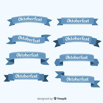 Conjunto clásico de cintas del oktoberfest con diseño plano