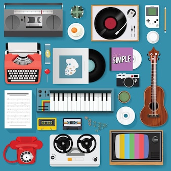 Conjunto clásico mixto de medios de entretenimiento retro