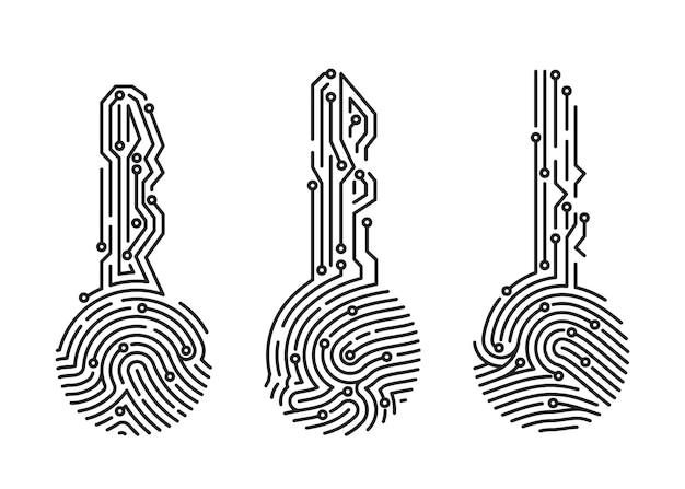 Conjunto de clave de huellas dactilares. verificación del usuario del sistema de seguridad. identificación biométrica para el inicio de sesión del software. ilustración vectorial