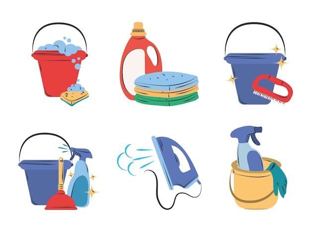 Conjunto de clipart de limpieza cubo esponja detergente plancha eléctrica spray y ropa de lavandería