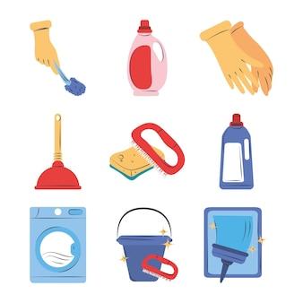 Conjunto de clipart de limpieza suministros equipo detergente cepillo guante lavadora cubo y esponja