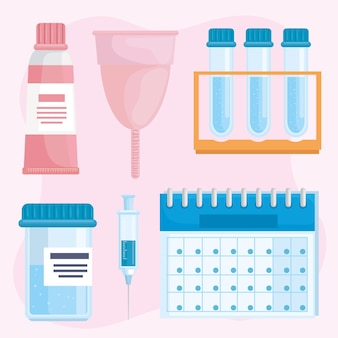 Conjunto de cliparts de ginecología