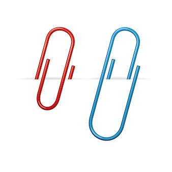 Conjunto de clips rojos y azules