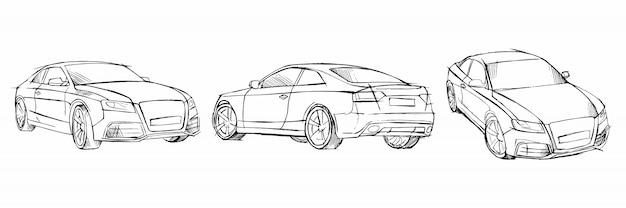 Conjunto de coche boceto dibujado a mano