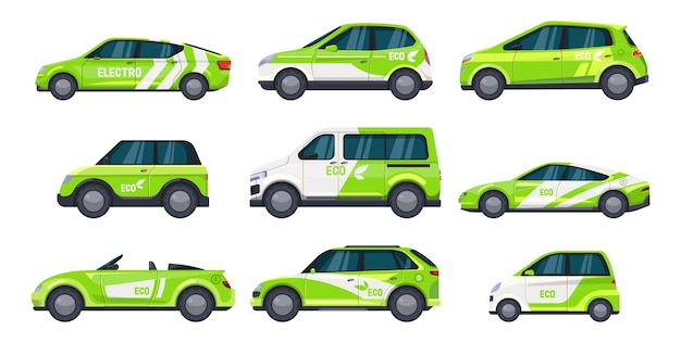 Conjunto de coche ecológico aislado o transporte verde auto eléctrico con hoja