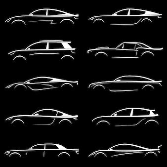 Conjunto de coche silueta blanca.