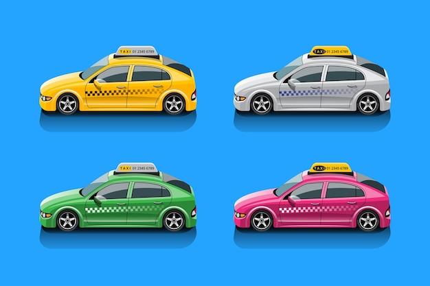 Conjunto de coche de taxi