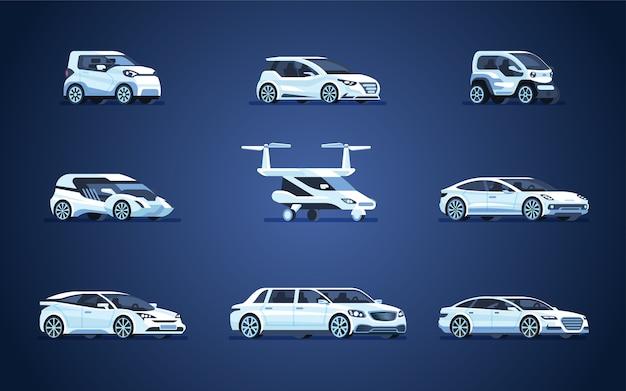 Conjunto de coches autónomos. vehículo sin conductor.