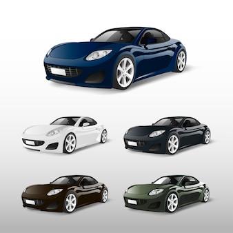 Conjunto de coches deportivos aislados en vectores blancos