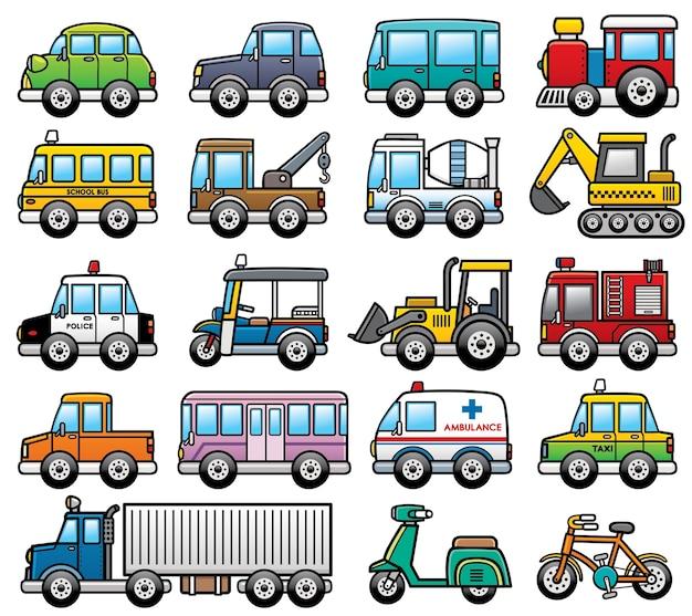 Conjunto de coches de dibujos animados