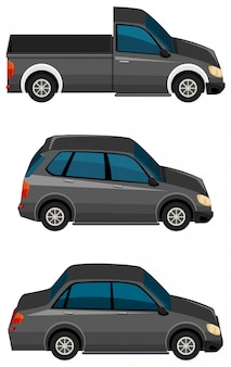 Conjunto de coches negros sobre fondo blanco.