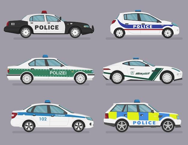 Conjunto de coches de policía aislados., sedán, hatchback, coche deportivo.